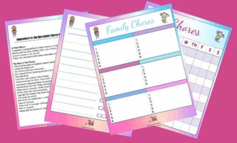 15-page printable chore charts