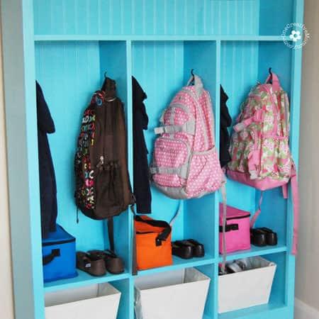 turquoise storage lockers for mudroom organization