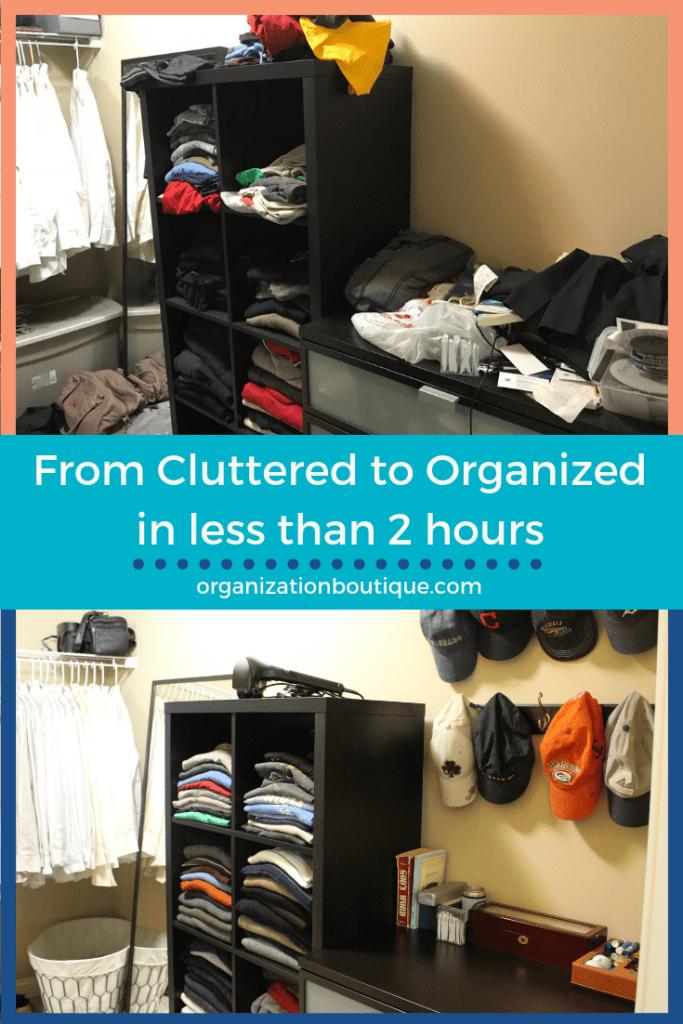 messy walk-in closet transformed to organized closet
