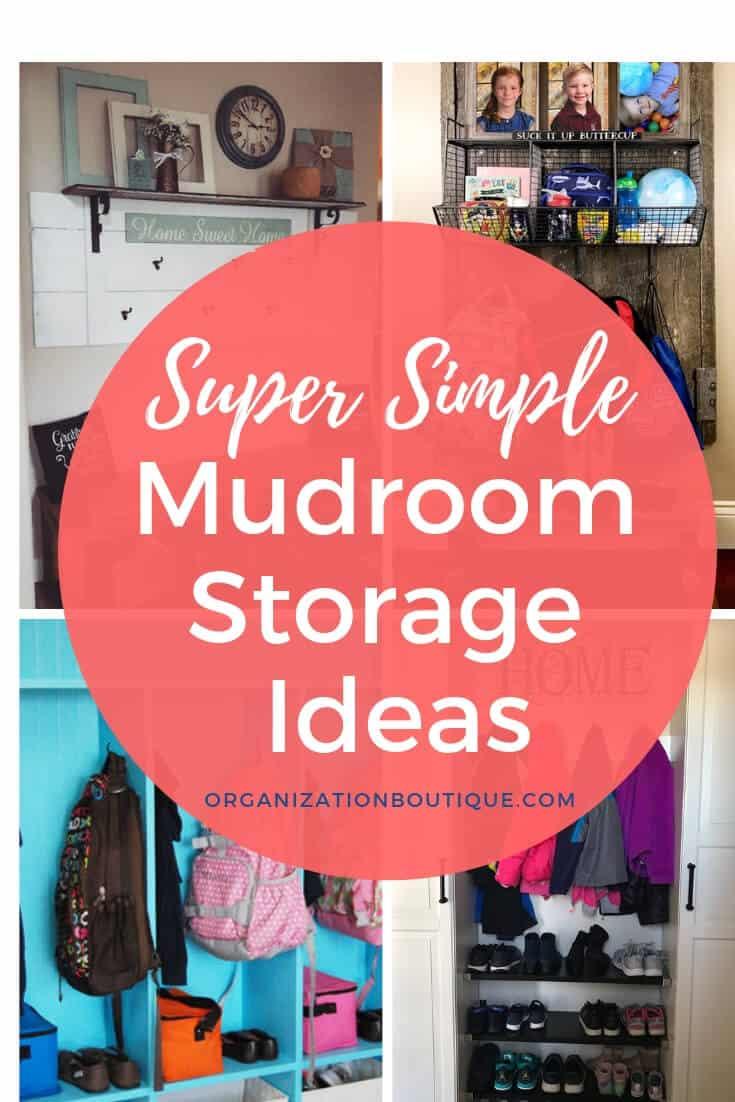 Super Simple Mudroom Storage Ideas - farmhouse mudroom, storage cabinets, shelves, benches, lockers