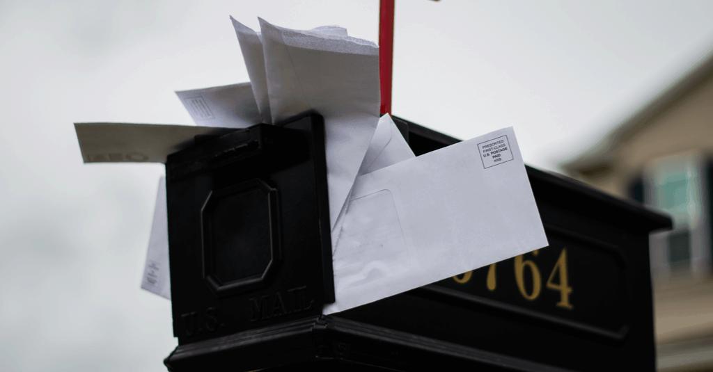 Paper clutter in a mailbox